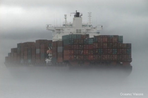 Cargo Ship in Fog