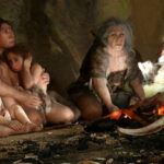 Life of a Neanderthal family, as depicted by the Neanderthal Museum in Krapina, Croatia. Photograph: Nikola Solic/Reuters