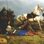 "Battle-felled, Shieldmaiden Hervor lies dead, mortally wounded by Huns.  Painting ""Hervor død"" by Peter Nicolai Arbo (1831-1892)."
