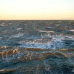 Foam-streaked waves during a winter gale on Virginia coastal waters.