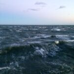 Early morning gale on the cold Atlantic Ocean.