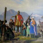 """Ingolf"" by P. Raadsig, 1850, Viðeyjarstofa in Viðey, Reykjavik. Wikipedia photo."