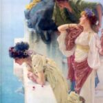 """A Coign of Vantage,"" Sir Lawrence Alma-Tadema, 1895, WikiArt Photo. Three of four Thyonē's daughters, with Althea kneeling."
