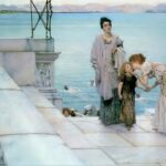 """A Kiss,"" Sir Lawrence Alma-Tadema, 1891, WikiArt photo. For this poem, Athena with Thyonē kissing her first daughter, Kyra."