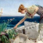"""Among the Ruins,"" Sir Lawrence Alma-Tadema, 1902, WikiArt photo. For this poem, Thyonē picking flowers on Ægean shores."