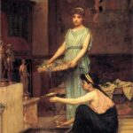 """The Household Gods,"" John William Waterhouse, 1880, Wikimedia photo. Brithe standing, Thera on bended knee."