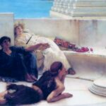 """Reading from Homer,"" Sir Lawrence Alma-Tadema, 1885, Wikiart photo."