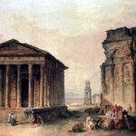 """Ruins at Nimes,"" Robert Hubert, 18th century, Wikimedia photo."