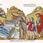 "Nativity of Christ, ""Hortus Deliciarum,"" Harrad Landsberg, circa 1180, Wikipedia photo."
