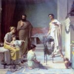 """Sick Child Brought into the Temple of Aesculapius,"" John William Waterhouse, 1877, Wikiart photo."