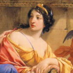 "Detail of painting ""The Muses Urania and Calliope"" by Simon Vouet, in which she holds a copy of the ""Odyssey,"" circa 1634, Wikipedia photo."