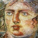Goddess Tethys, primordial deity of ancient Greece, 4th century mosaic, Shahba Museum, Syria, Wikipedia photo.