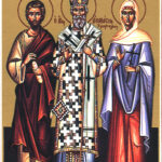 Icon with Adronicus, Saint Athanasius, and Saint Junia, Wikipedia photo.