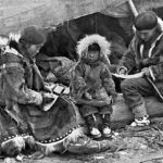 """Inuit Family,"" George R. King, National Geographic Magazine, V. 31, p. 564, 1917, Wikipedia photo."