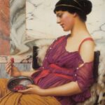 """Ismenia,"" John William Godward, 1908, Wikiart photo."