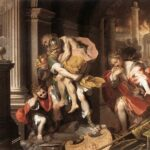 """Aeneas Flees Burning Troy,"" Federico Barocci, 1598, Wikipedia photo."