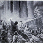 """Burning the Library at Alexandria,"" 391 A.D., Ambrose Dudley, 1920s, Wikipedia photo."