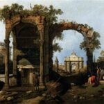 """Capriccio with Classical Ruins,"" Giovanni Canal (Canaletto), c.1751, WikiArt photo."