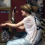 """Muse Erato at her Lyre,"" John William Godward, 1895, WikiArt photo."