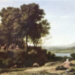 """Landscape with Apollo and Muses,"" Claude Lorrain, 1652, WikiArt photo."