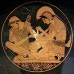 """Achilles tending Patroclus wounded by an arrow,"" vase inscription, circa 500 B.C. Wikipedia photo."