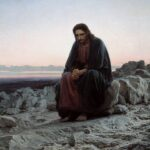 """Christ in the Wilderness,"" Ivan Kramskoi, 1872, Wikipedia photo."