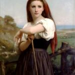 """Young Shepherdess,"" Willam-Adolphe Bouguereau, 1868, WikiArt."
