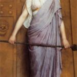 """At Gate of the Temple,"" John William Godward, 1898, WikiArt."