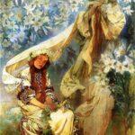 """Madonna of the Lilies,"" Alphonse Mucha, 1905, WikiArt."